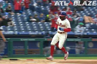 Phillies explode for 3 two-out runs to accumulate 3-0 lead over Braves within the fifth inning