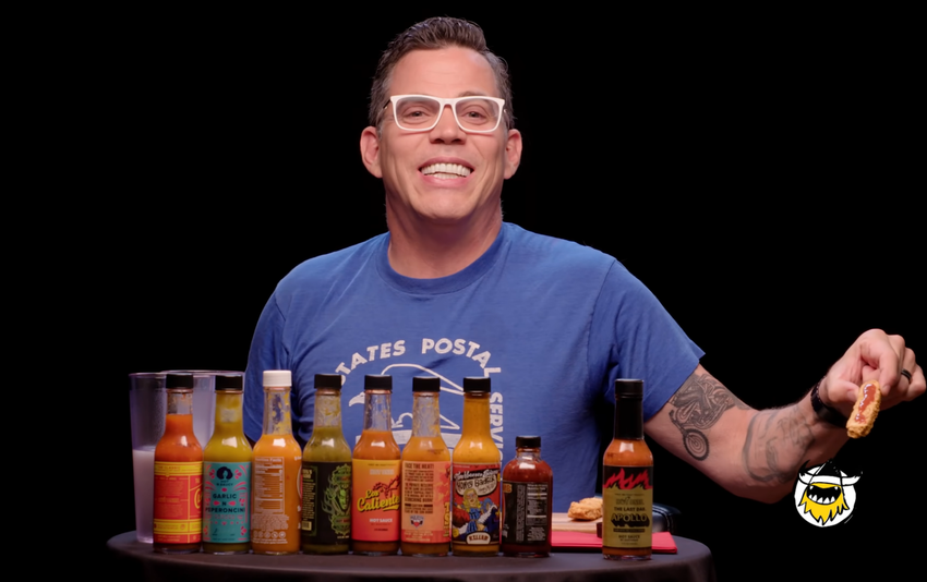 Steve-O returns to 'Hot Ones' for a season finale stunt mighty of 'Jackass'