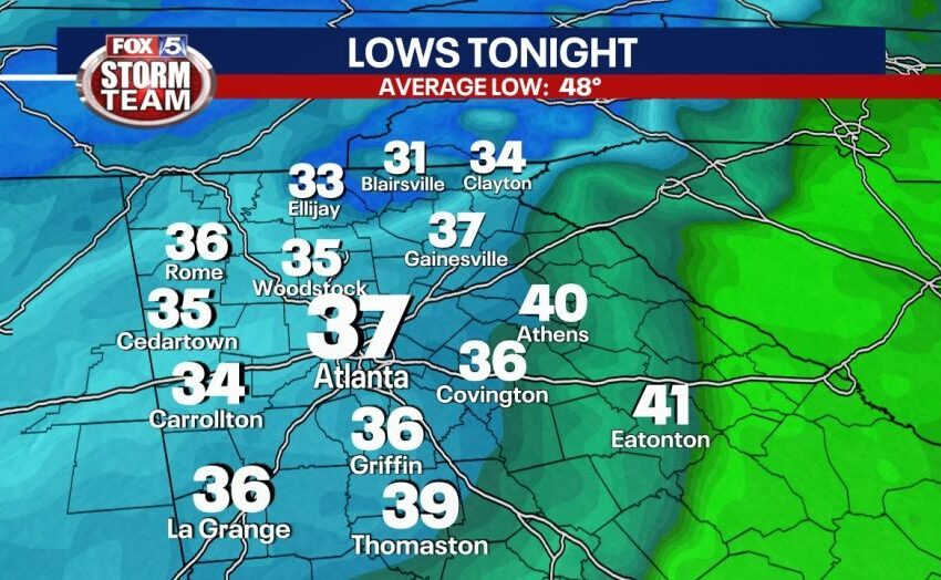 Wind Advisory, Freeze Watch for portion of north Georgia