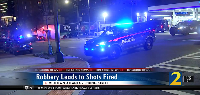 Police fire shots at car that tried to run over officer near busy Atlanta street