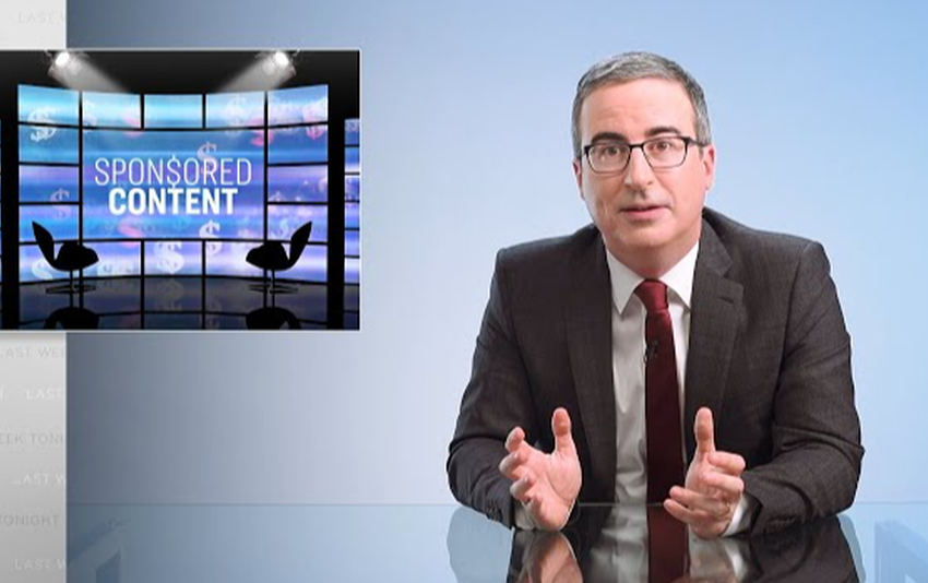 John Oliver objects up deceptive firm, tricks native news stations into airing ridiculous product