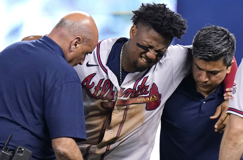Braves lose Ronald Acuna Jr. for season after outfielder tears ACL attempting to form protect